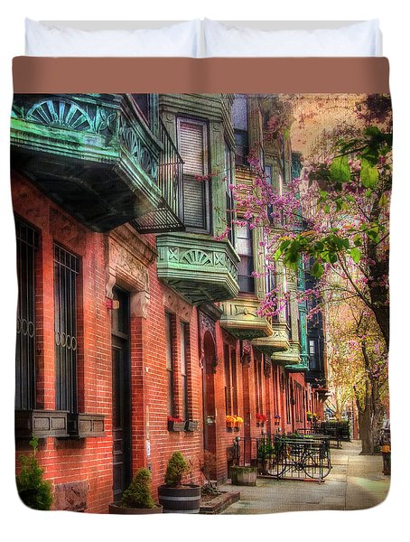 Bay Village Brownstones And Cherry Blossoms - Boston Duvet Cover by Joann Vitali