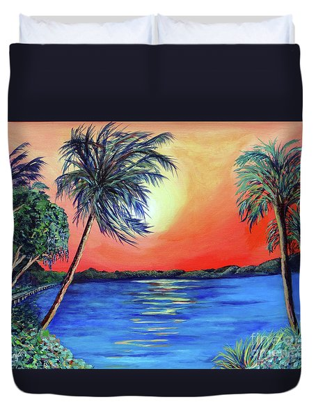 Duvet Cover featuring the painting Baycrest by Ecinja Art Works