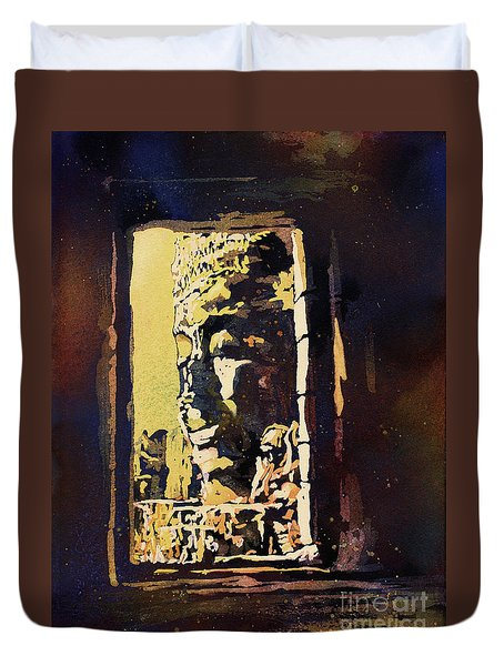 Duvet Cover featuring the painting Bayon IIi- Cambodian Ruins, Angkor Wat by Ryan Fox
