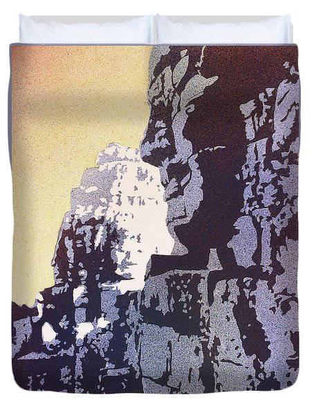 Duvet Cover featuring the painting Bayon Temple- Angkor Wat, Cambodia by Ryan Fox