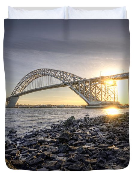 Bayonne Bridge Sunset Duvet Cover