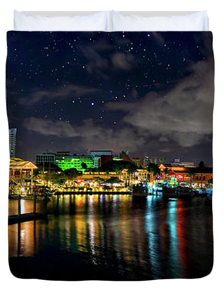 Bayside Miami Florida At Night Under The Stars Duvet Cover