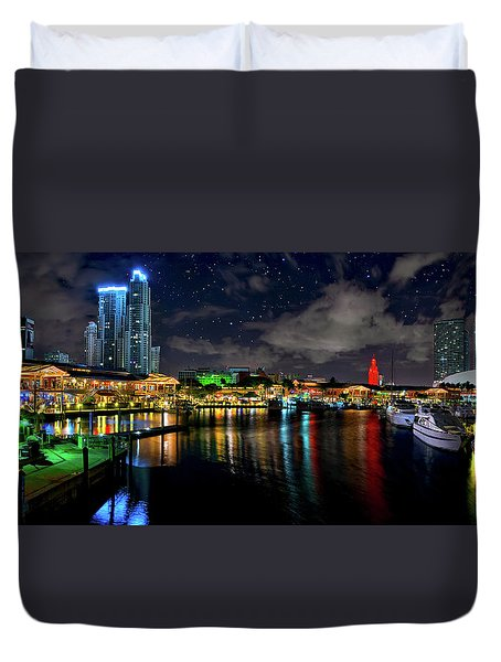 Duvet Cover featuring the photograph Bayside Miami Florida At Night Under The Stars by Justin Kelefas