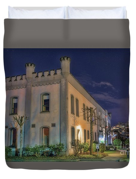Duvet Cover featuring the mixed media B.c.penitentiary by Jim  Hatch