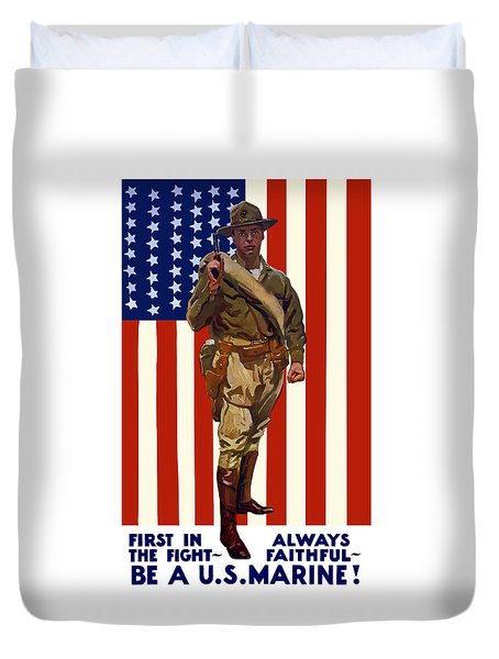 Be A Us Marine Duvet Cover by War Is Hell Store