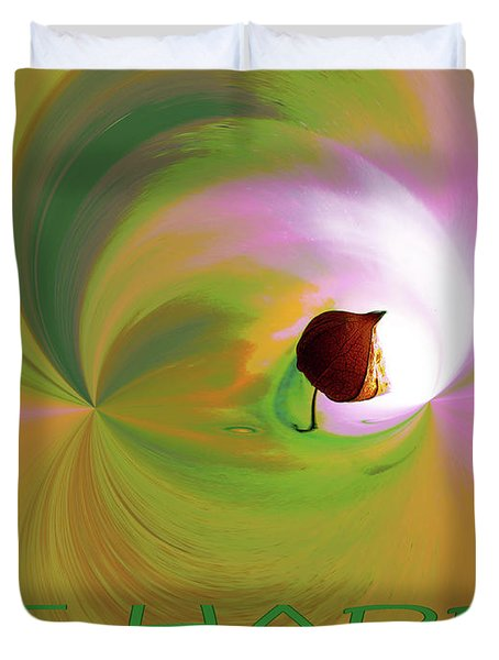 Be Happy, Green-pink With Physalis Duvet Cover