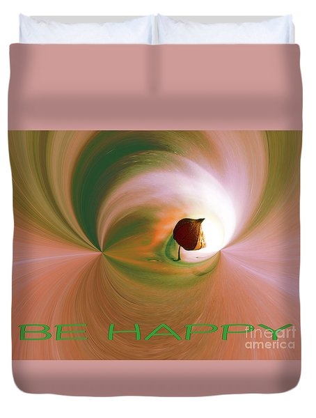Be Happy Green-rose With Physalis Duvet Cover