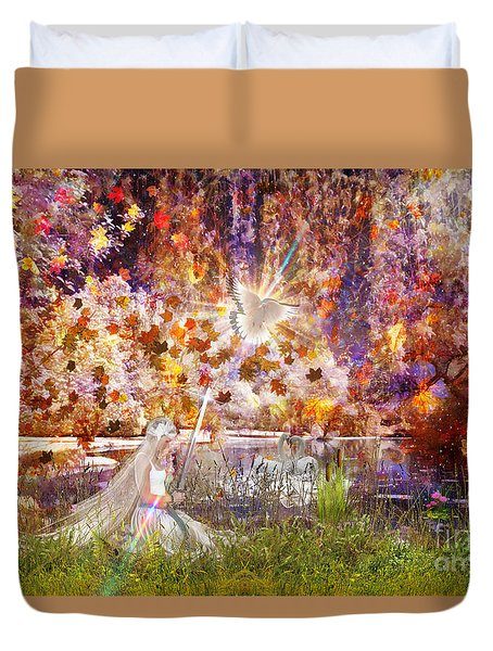 Duvet Cover featuring the digital art Be Still And Know by Dolores Develde