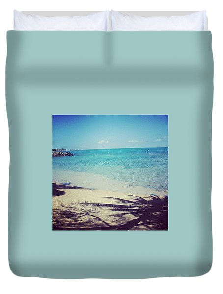 Beach And Palm Trees Shade Duvet Cover