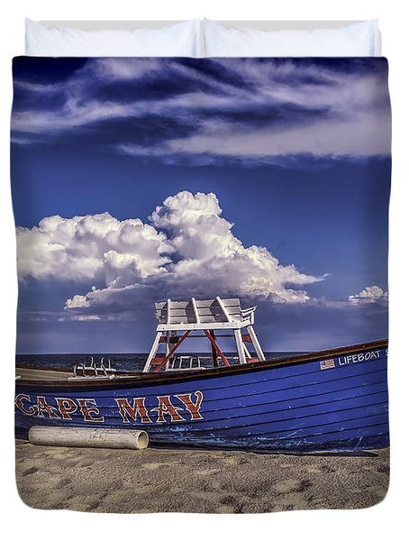 Beach And Lifeboat Duvet Cover
