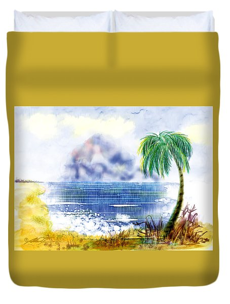 Beach And Palm Tree Of D.r.  Duvet Cover