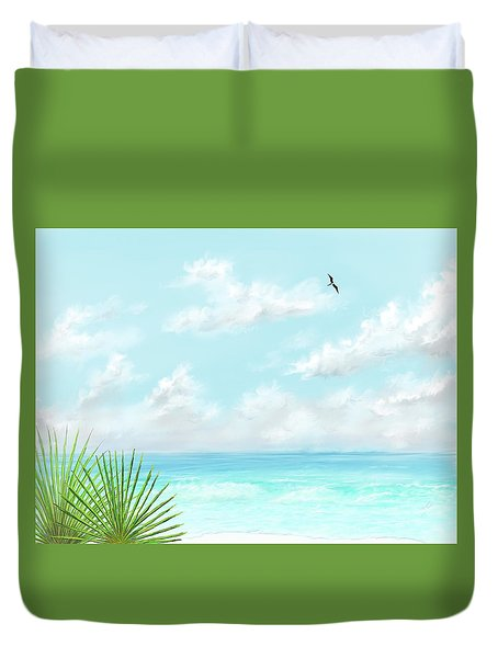 Duvet Cover featuring the digital art Beach And Palms by Darren Cannell