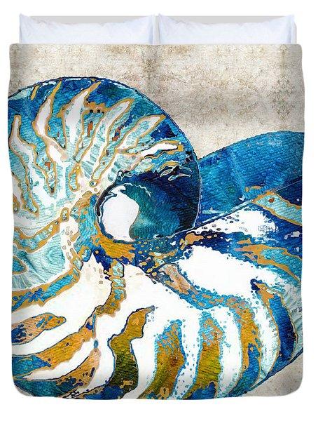 Beach Art - Nautilus Shell Bleu - Sharon Cummings Duvet Cover