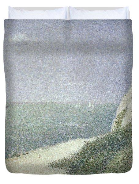 Beach At Bas Butin Duvet Cover by Georges Pierre Seurat