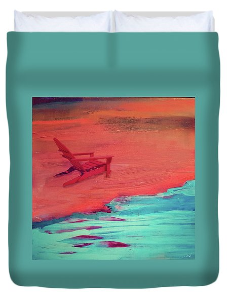 Beach At Night Duvet Cover