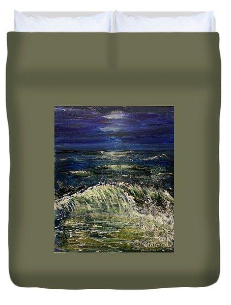 Beach At Night Duvet Cover