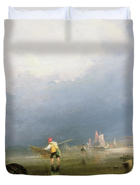 Beach At Shoreham Duvet Cover by Anthony Vandyke Copley Fielding