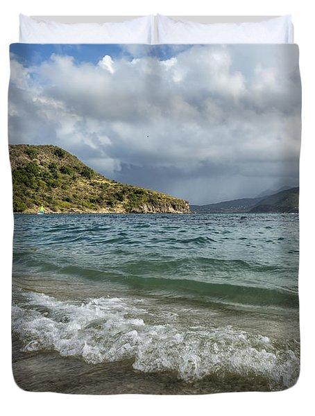 Beach At St. Kitts Duvet Cover