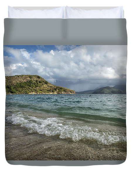 Beach At St. Kitts Duvet Cover