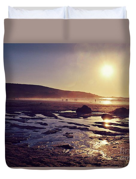 Duvet Cover featuring the photograph Beach At Sunset by Lyn Randle