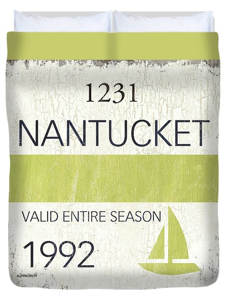 Beach Badge Nantucket Duvet Cover
