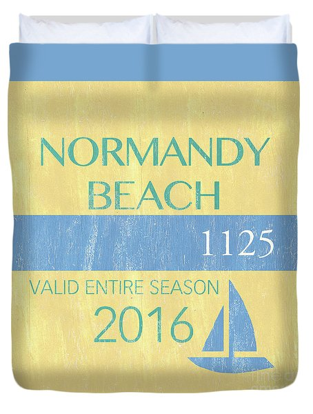 Beach Badge Normandy Beach 2 Duvet Cover