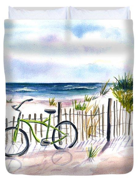 Beach Bike At Seaside Duvet Cover