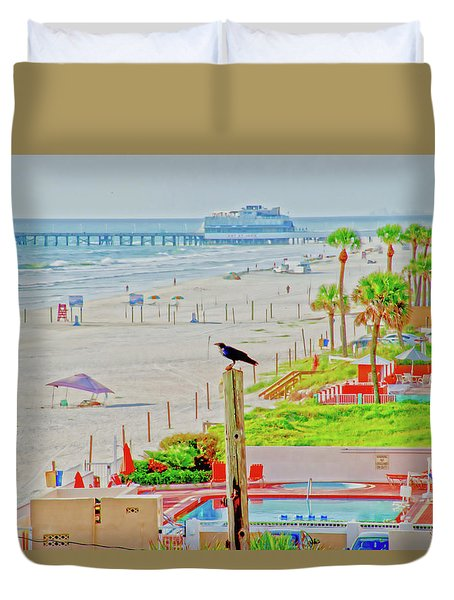 Beach Bird On A Pole Duvet Cover
