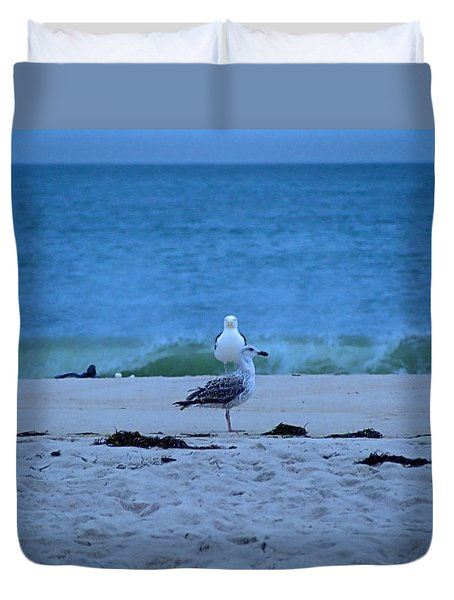 Duvet Cover featuring the photograph Beach Birds by  Newwwman