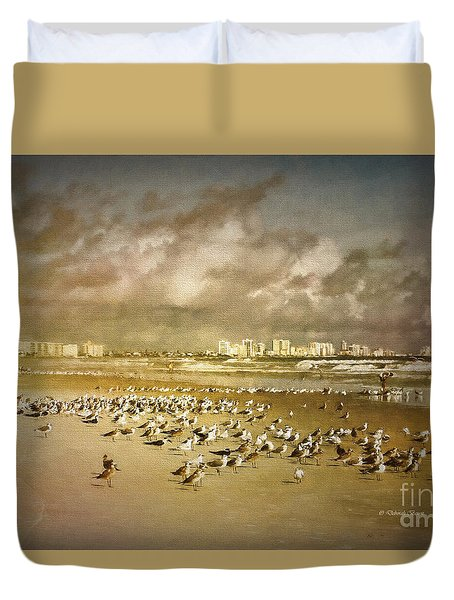 Beach Birds Surfers And Waves Duvet Cover
