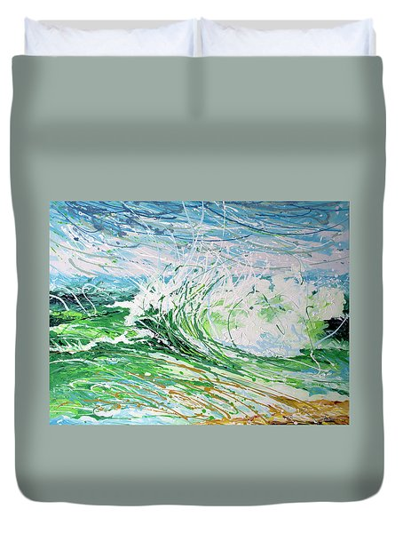 Duvet Cover featuring the painting Beach Blast by William Love