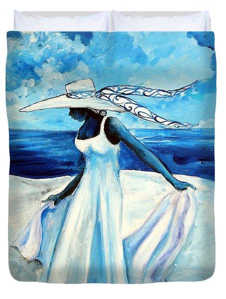 Duvet Cover featuring the painting Beach Blues by Diane Britton Dunham