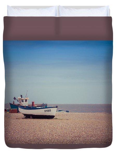 Beach Boats Duvet Cover by David Warrington