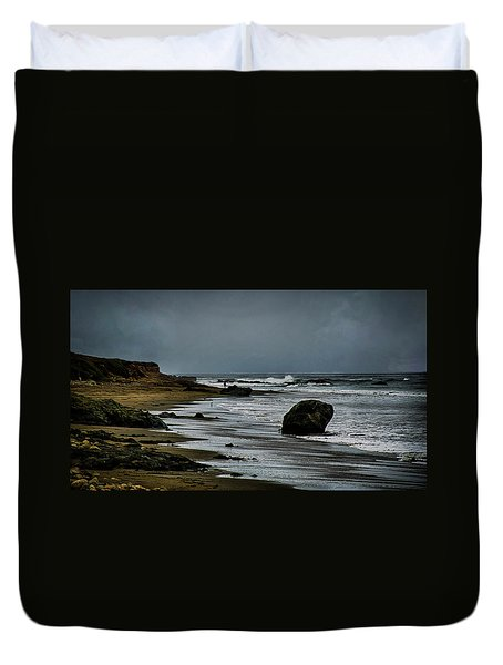 Duvet Cover featuring the photograph Beach Boulder by Joseph Hollingsworth