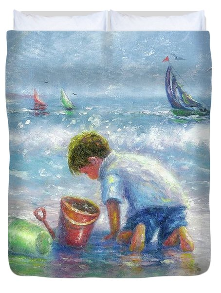Beach Boy Sand And Sailboats Duvet Cover