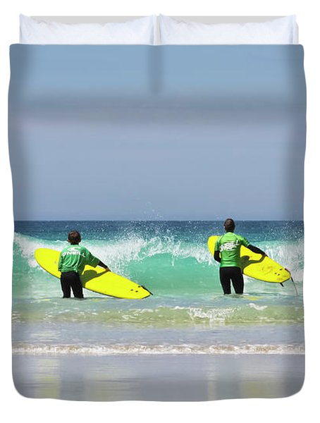 Duvet Cover featuring the photograph Beach Boys Go Surfing by Terri Waters