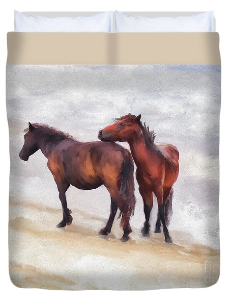 Duvet Cover featuring the photograph Beach Buddies by Lois Bryan