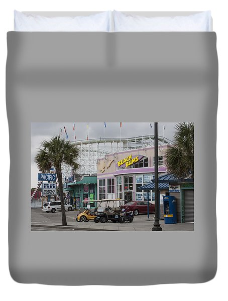Beach Bums - Myrtle Beach South Carolina Duvet Cover by Suzanne Gaff