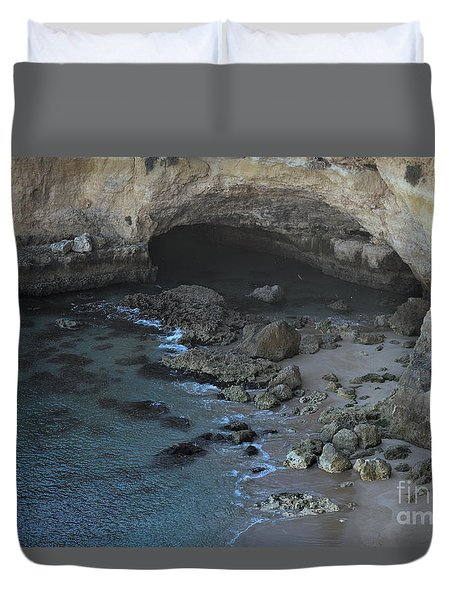 Beach Cave From The Cliffs In Malhada Do Baraco Duvet Cover