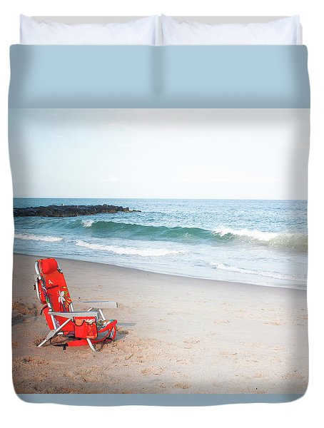 Beach Chair By The Sea Duvet Cover