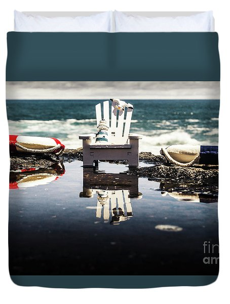 Beach Chairs And Rock Pools Duvet Cover