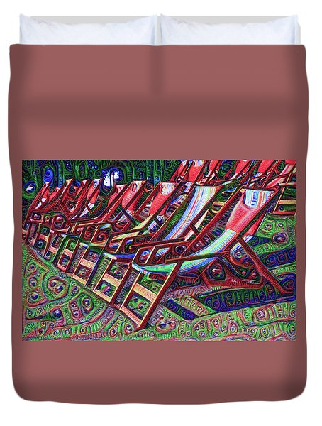 Beach Chairs Duvet Cover by Bill Cannon