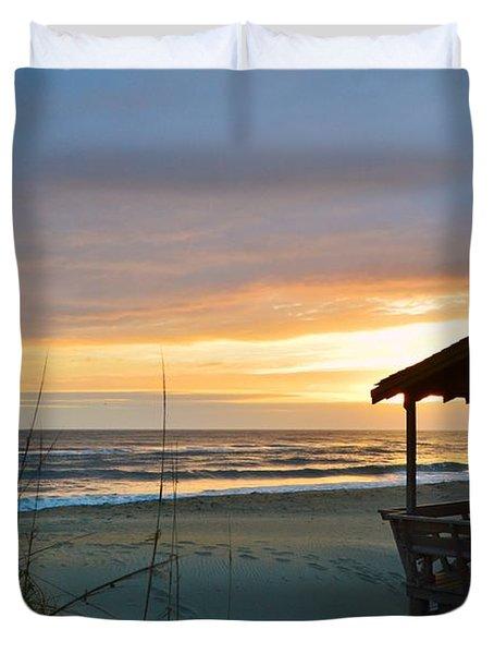 Beach Cottage Sunrise  Duvet Cover