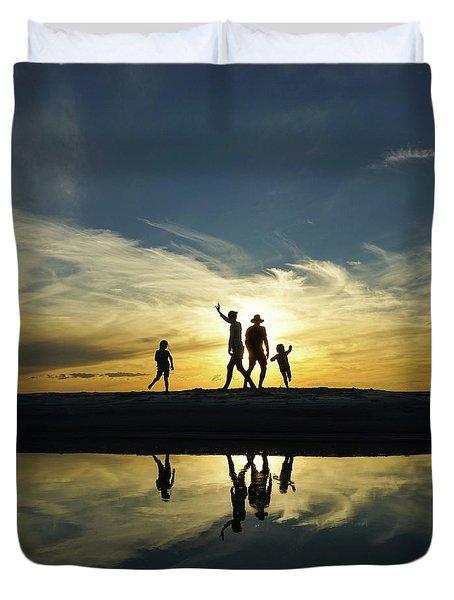 Beach Dancing At Sunset Duvet Cover