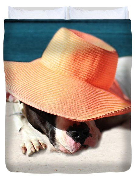 Duvet Cover featuring the photograph Beach Day For Bubba by Shelley Neff