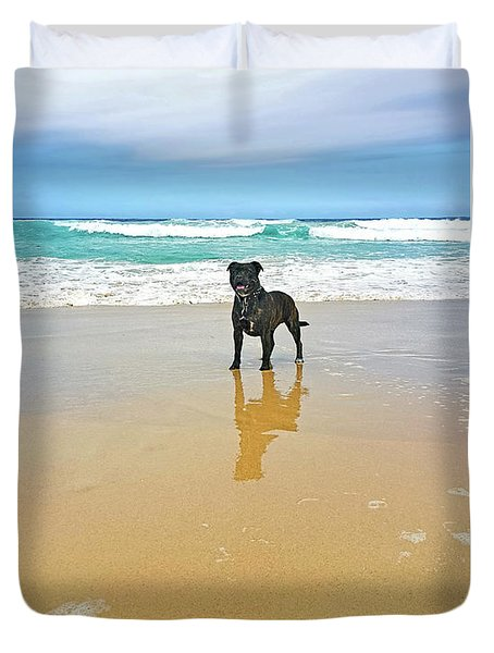 Duvet Cover featuring the photograph Beach Dog And Reflection By Kaye Menner by Kaye Menner