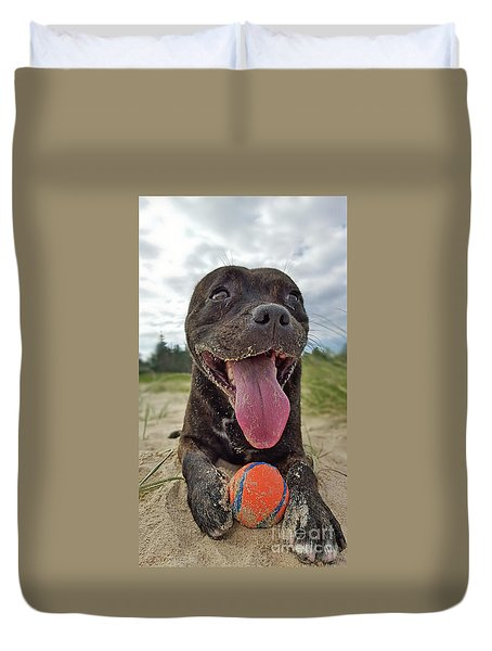 Duvet Cover featuring the photograph Beach Dog - More Play? By Kaye Menner by Kaye Menner