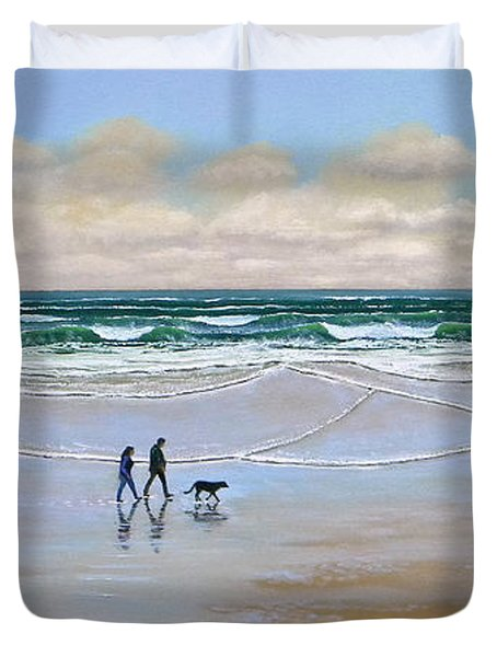 Beach Dog Walk Duvet Cover