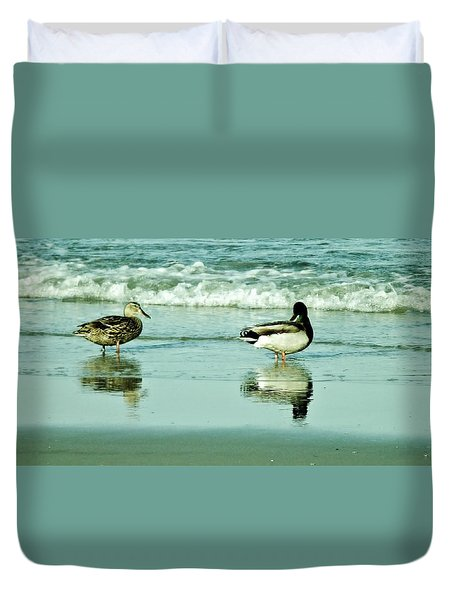 Beach Ducks Duvet Cover