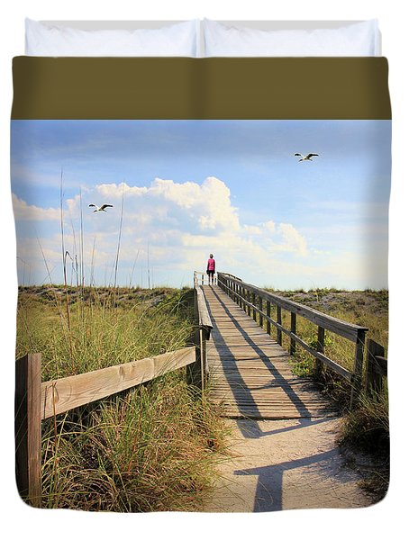 Beach Entrance Duvet Cover by Rosalie Scanlon
